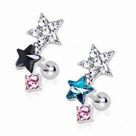 Piercing cartilage étoiles multicolores