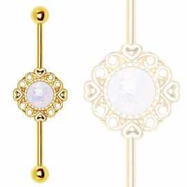 Piercing industriel plaqué or vintage opale