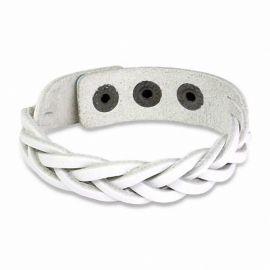 Bracelet en cuir blanc lanières tressées