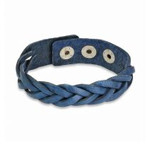 Bracelet en cuir bleu lanières tressées