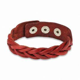 Bracelet en cuir rouge lanières tressées