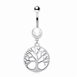 Piercing nombril acier chirurgical arbre de vie