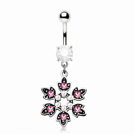 Piercing nombril flocon de neige gemmes roses