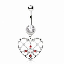 Piercing nombril coeur floral