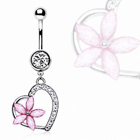 Piercing nombril coeur et fleur rose
