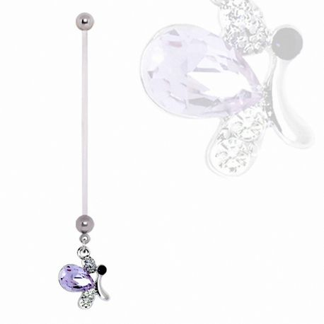 Piercing nombril de grossesse papillon violet