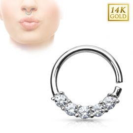 Piercing septum or blanc 14 carats 5 gemmes
