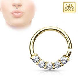 Piercing septum or jaune14 carats 5 gemmes