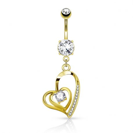 Piercing nombril double coeur plaqué or
