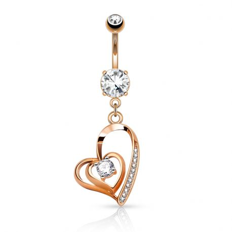 Piercing nombril double coeur or rose