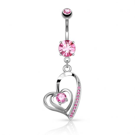 Piercing nombril double coeur strass rose