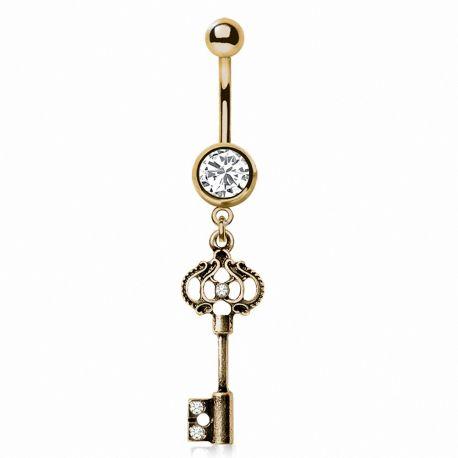 Piercing nombril plaqué or clef vintage