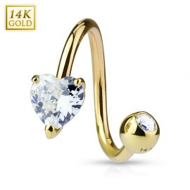 Piercing nombril Spirale Or 14 carats