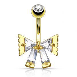 Piercing nombril ruban triangulaire plaqué or