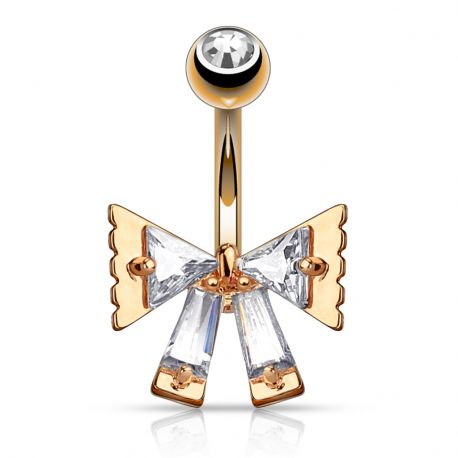 Piercing nombril ruban triangulaire or rose