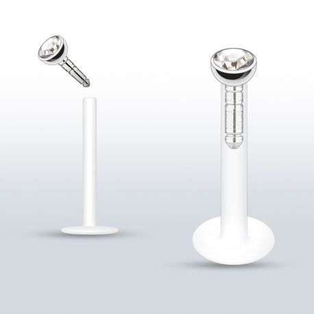 Piercing Labret PTFE Flexible Gemme