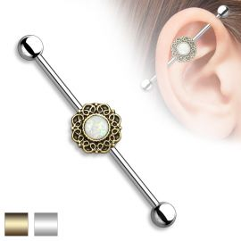 Piercing industriel filigrane opale