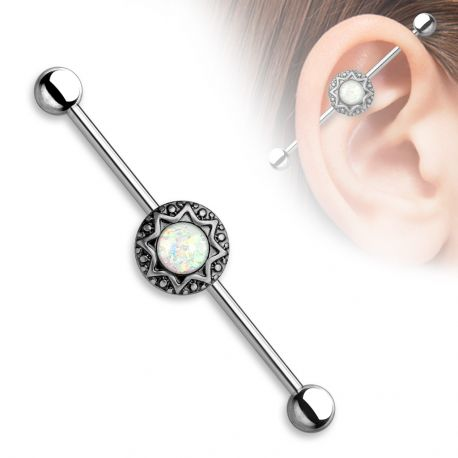 Piercing industriel tribal opale
