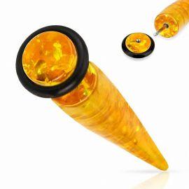 Piercing faux écarteur ambre synthétique