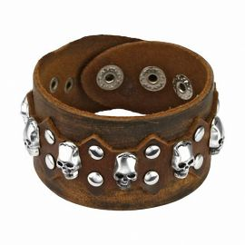 Bracelet en cuir marron skulls