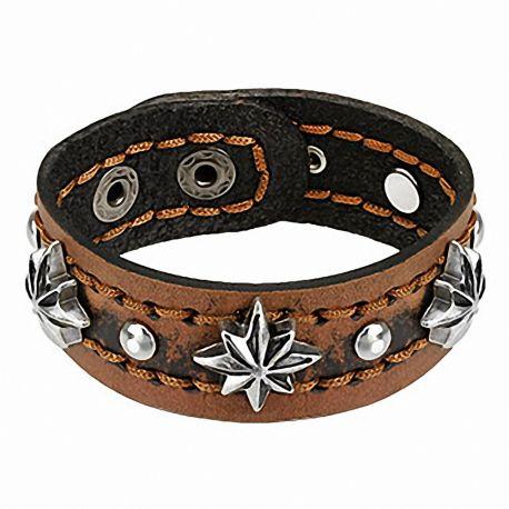 Bracelet en cuir marron étoiles