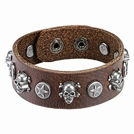 Bracelet homme en cuir marron skull