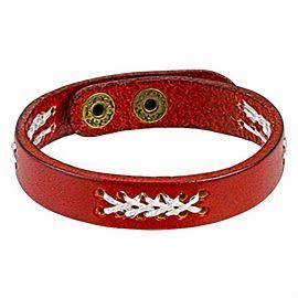 Bracelet en cuir rouge points de suture
