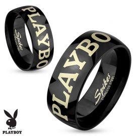 Bague Playboy en acier noir