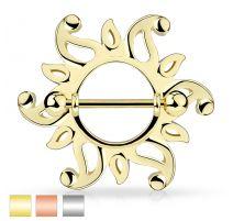 Piercing téton bouclier tribal soleil