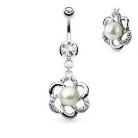 Piercing nombril fleur perle