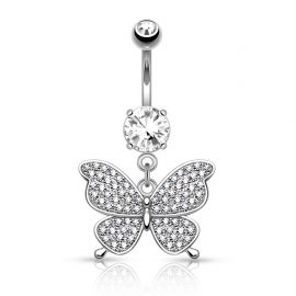 Piercing nombril papillon pavé de strass