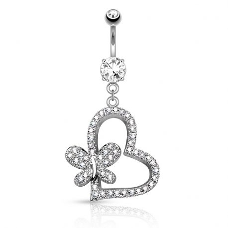 Piercing nombril coeur papillon pavé de strass
