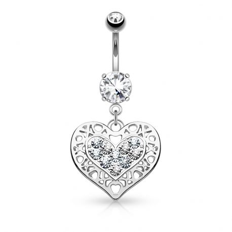 Piercing nombril coeur filigrane