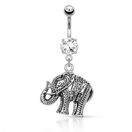 Piercing nombril avec pendentif éléphant