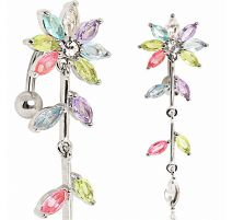 Piercing nombril inversé fleur multicolore