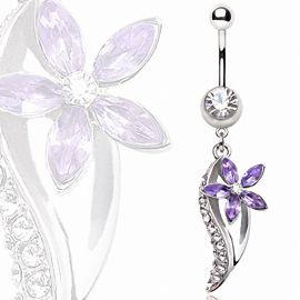 Piercing nombril fleur violette avec feuille