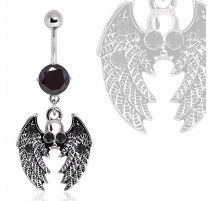 Piercing nombril ailes gothique