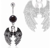 Piercing nombril ailes gothique