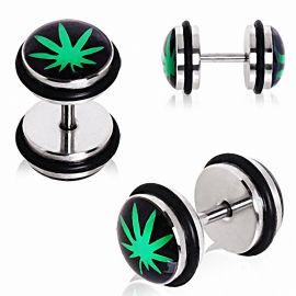 Faux Piercing Plug Oreille Cannabis