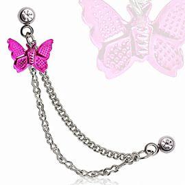 Double piercing cartilage oreille papillon