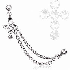 Double piercing cartilage oreille croix gemmes