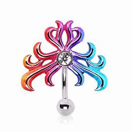 Piercing nombril inversé tribal multicolore