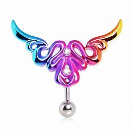 Piercing nombril inversé tribal multicolore strass
