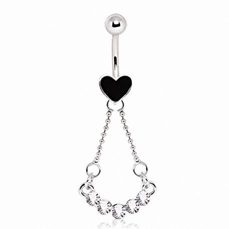 Piercing nombril coeur noir gemmes
