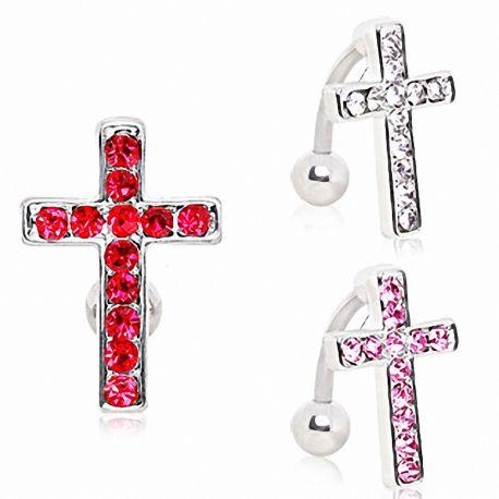 Piercing nombril inversé croix strass