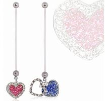 Piercing nombril de grossesse double coeur strass