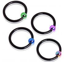 Piercing anneau captif noir bille colorée