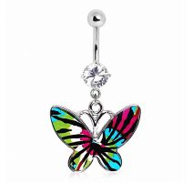 Piercing nombril papillon tie & dye
