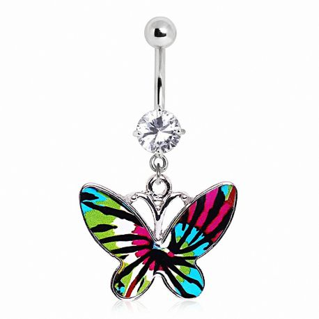 Piercing nombril papillon tie & dye