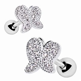 Piercing cartilage hélix papillon strass